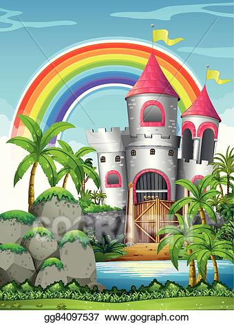 Clipart castle forest. Eps illustration tower in