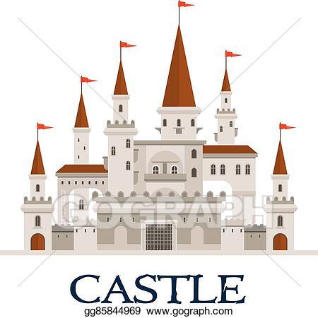Vector symbol for architecture. Clipart castle fortress