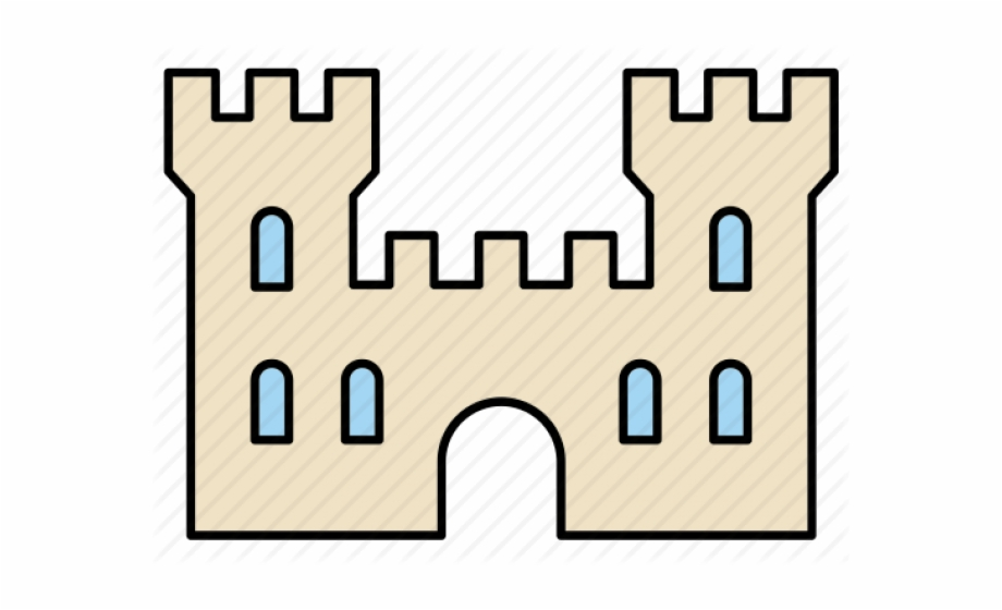 Clipart castle fortress. Medieval wall outline