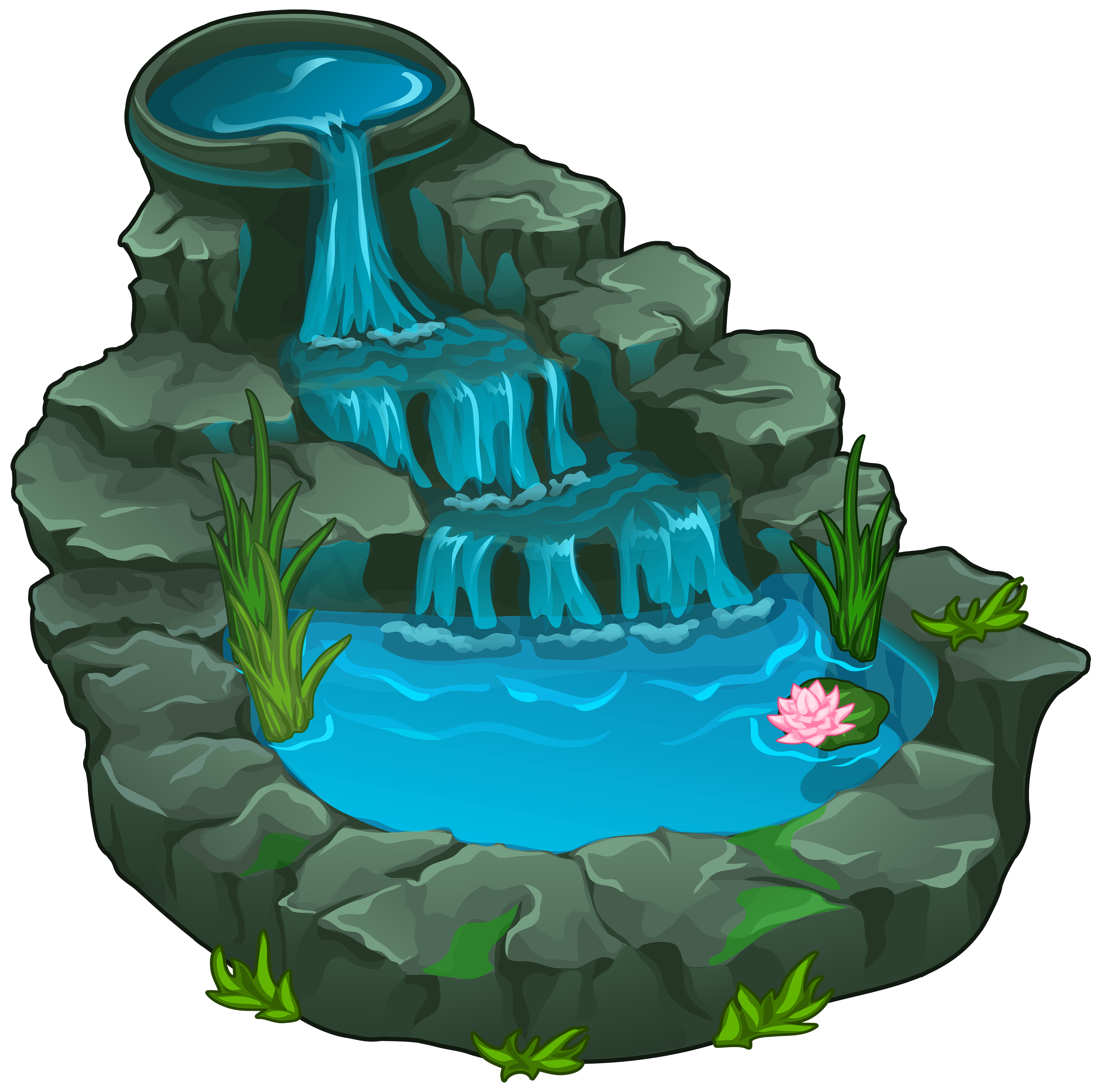 Waterfall png pinterest. Lake clipart fairytale landscape