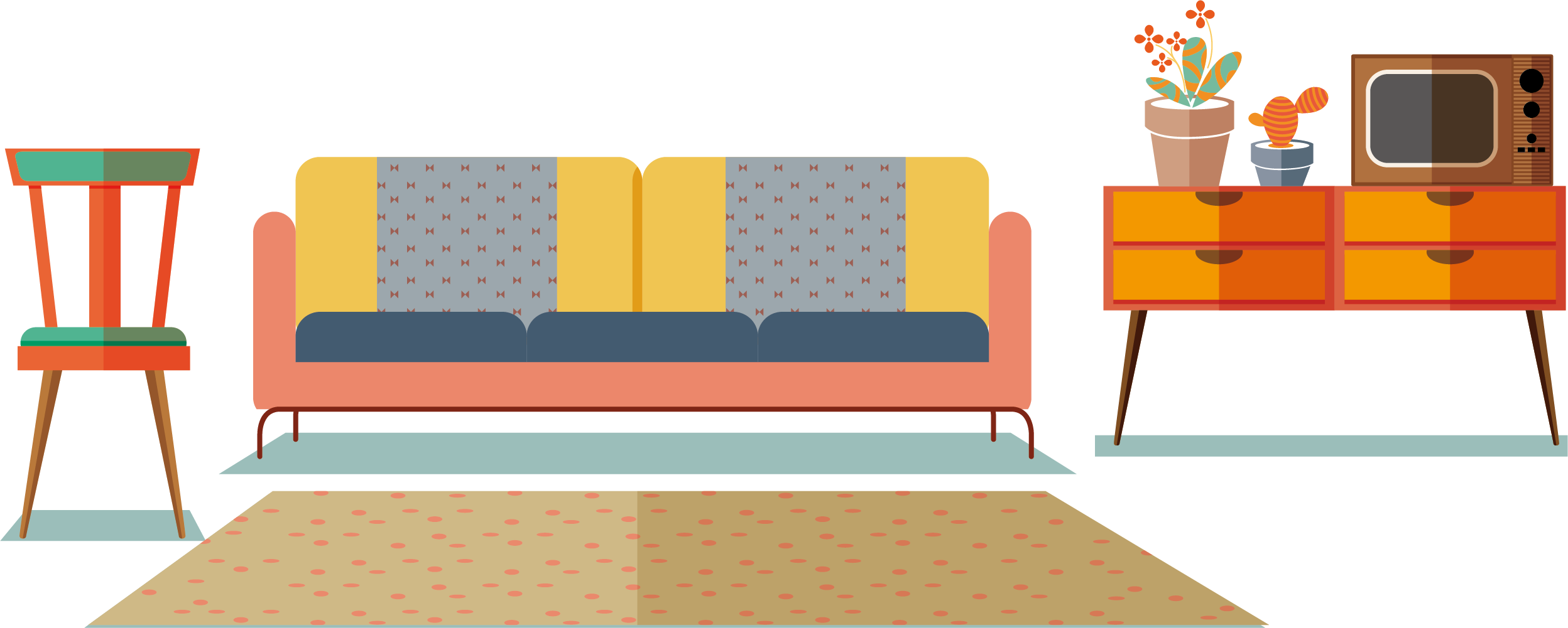 Furniture clipart home furnishings. Table living room carpet