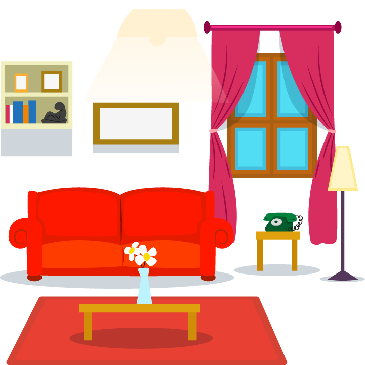 Table couch cartoon hand. Furniture clipart living room