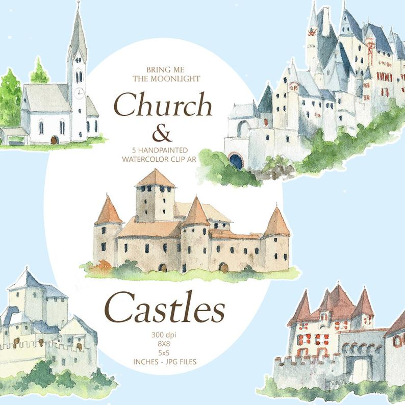Watercolor castles houses . Clipart castle mansion