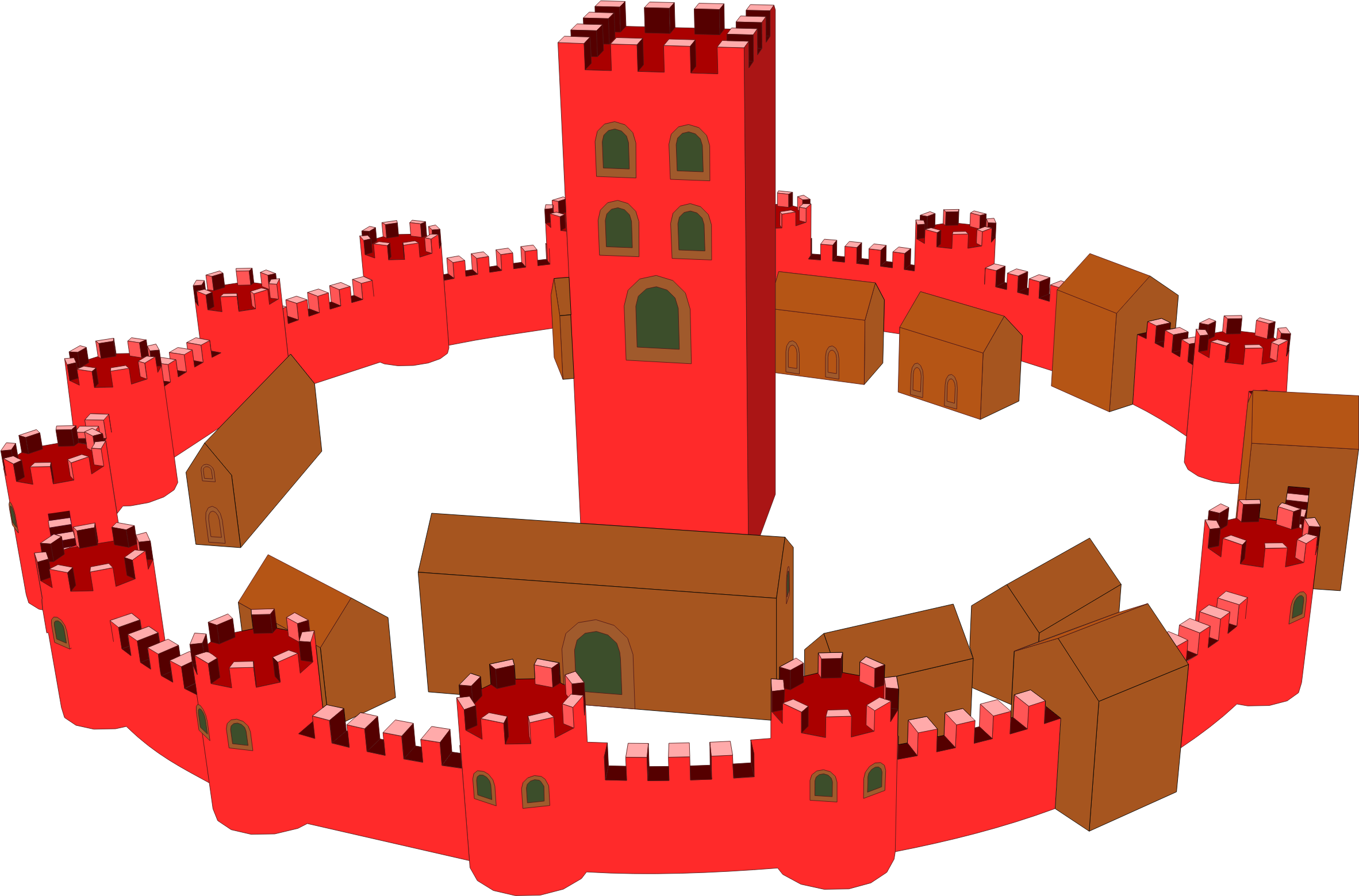Walled big image png. Clipart castle medieval town