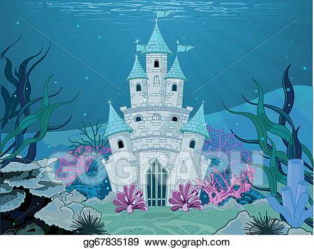 Eps illustration vector . Clipart castle mermaid