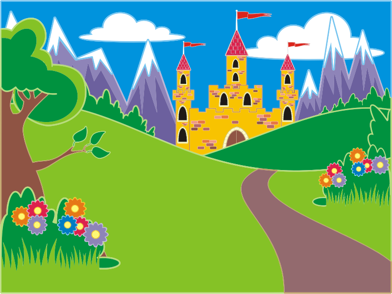 Clipart castle mountain. Fairytale fantasy landscape medium