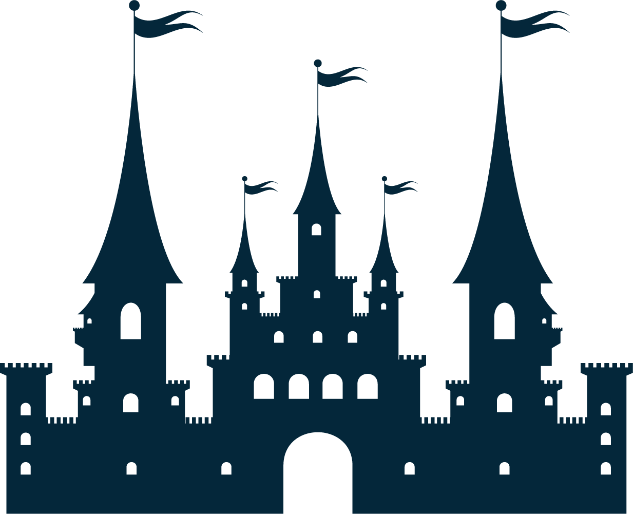Silhouette clip art at. Clipart castle mountain