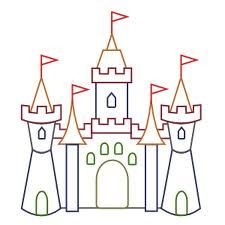 Clipart castle outline. Color education classroom theme