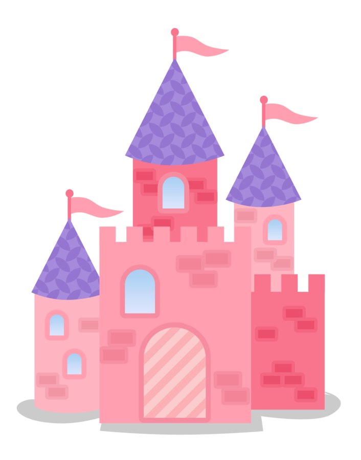 Pink and purple dolls. Queen clipart castle