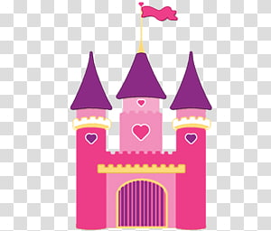 Pink and illustration princess. Clipart castle purple