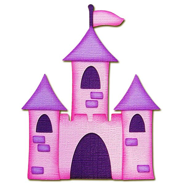 Pink and handmade paper. Clipart castle purple