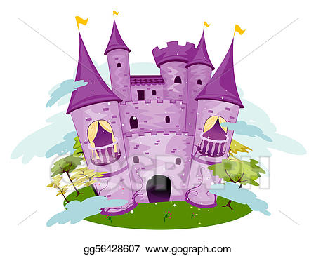 Clipart castle purple. Stock illustration drawing