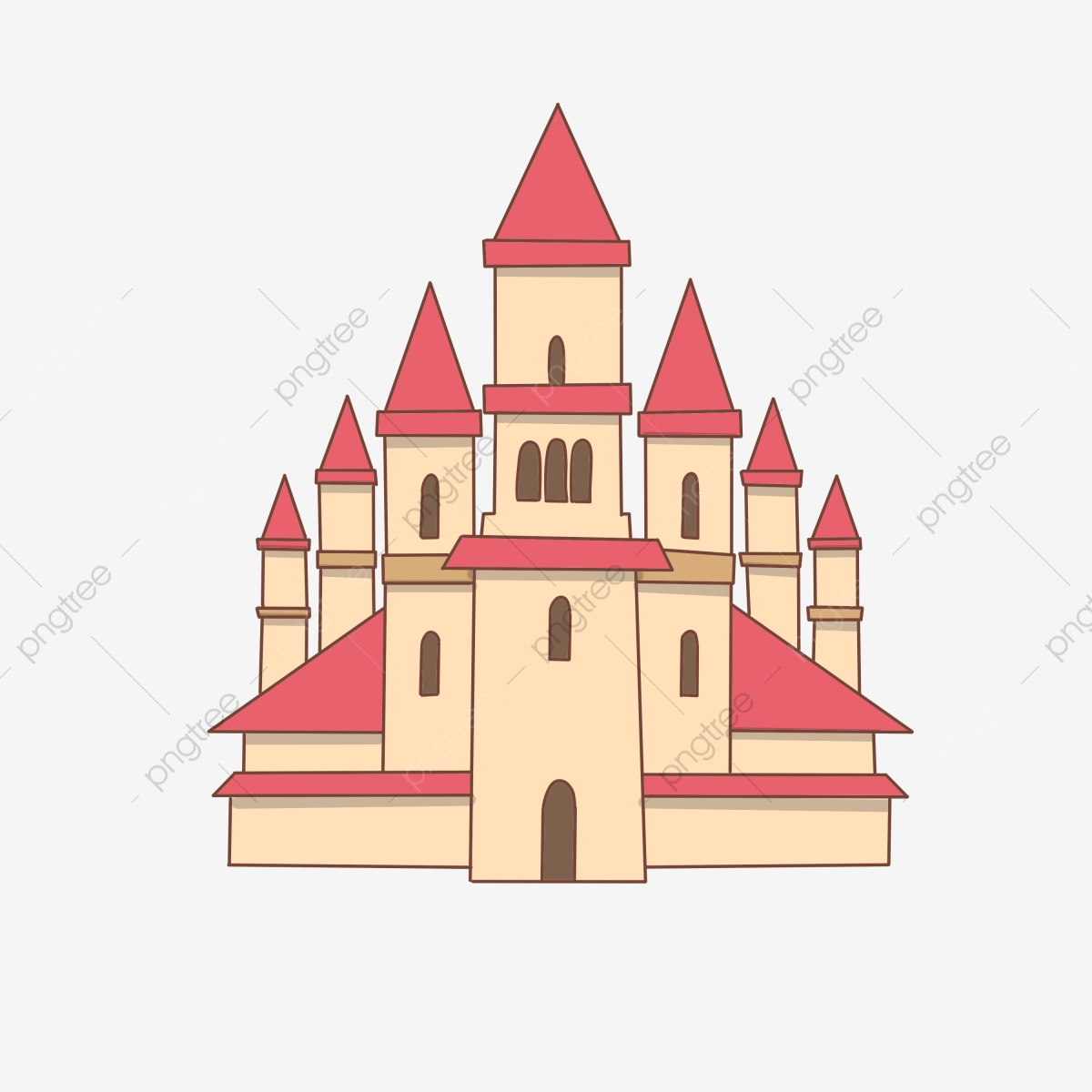 Roof cartoon brown royal. Palace clipart red castle