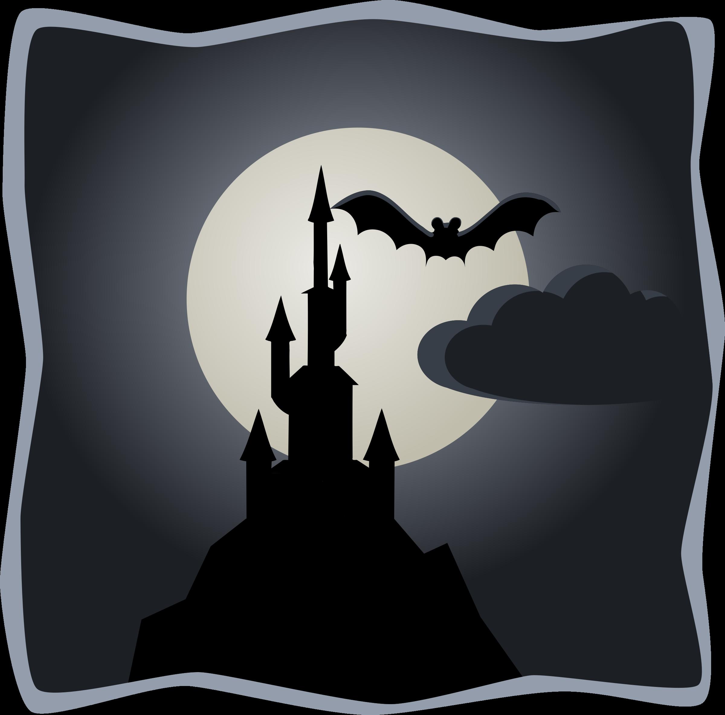 Spooky in full moon. Clipart castle scenery