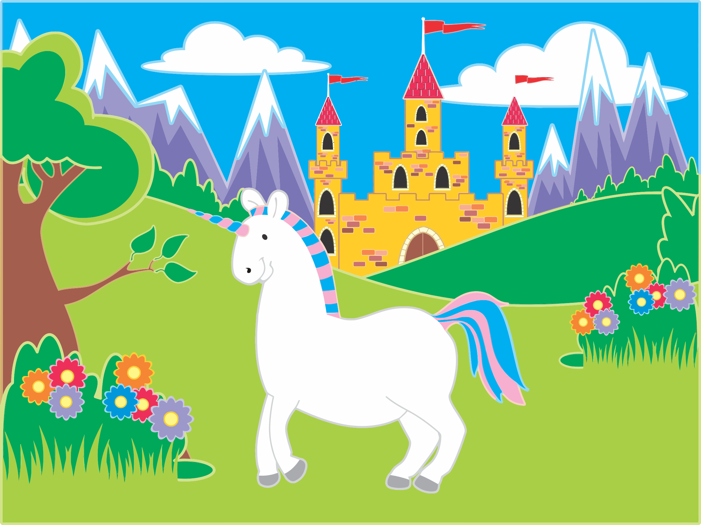Fairytale unicorn icons png. Landscape clipart castle