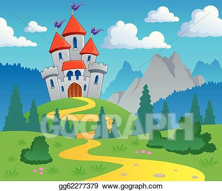 Clipart castle scenery. Vector art theme landscape
