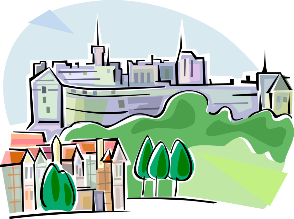 Edinburgh scotland vector image. Clipart castle scottish castle