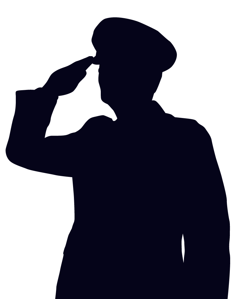 Woman soldier salute silhouette. Soldiers clipart stencil
