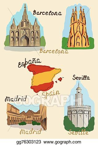 Eps illustration sights in. Clipart castle spanish