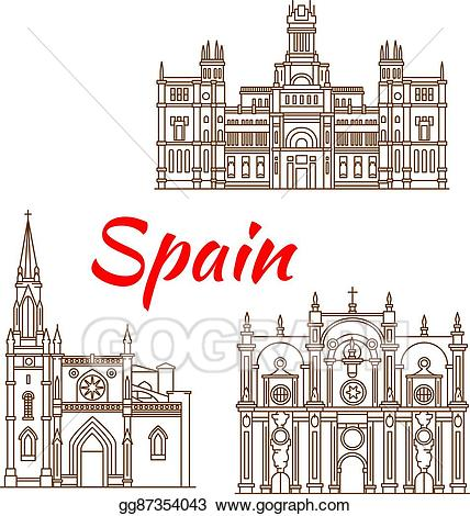 Vector art thin line. Clipart castle spanish