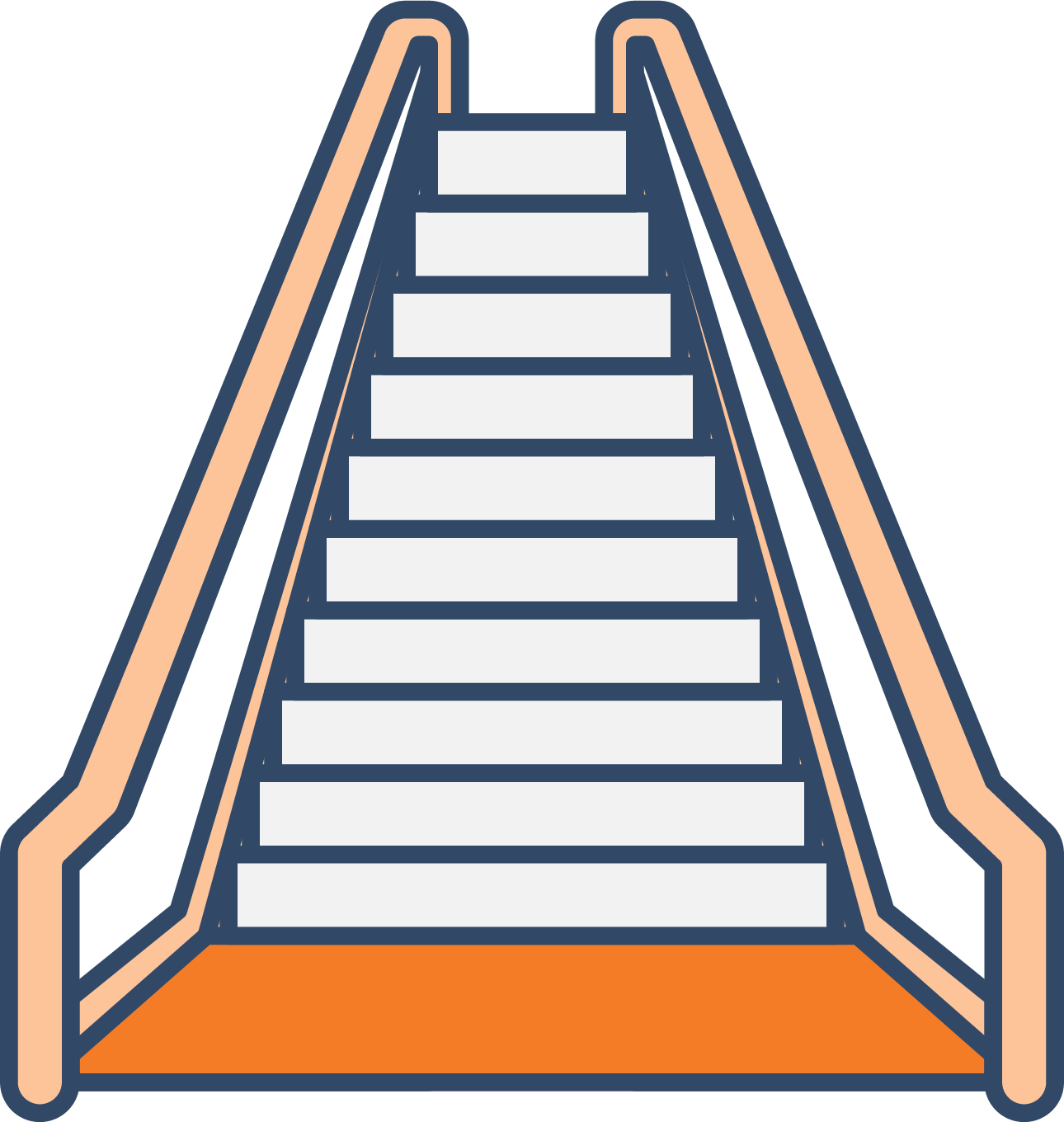 Escalator stairs icon up. Clipart castle staircase