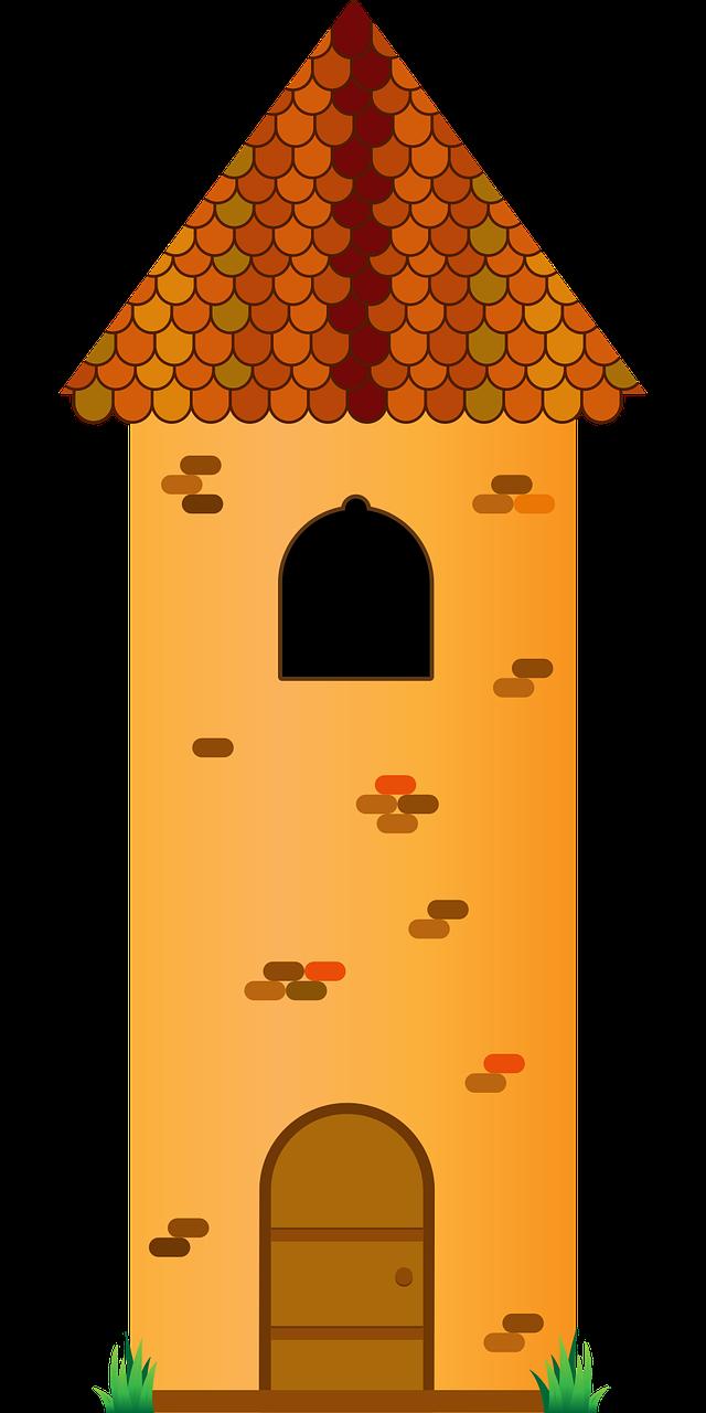 Tower medieval door tile. Clipart castle stone castle
