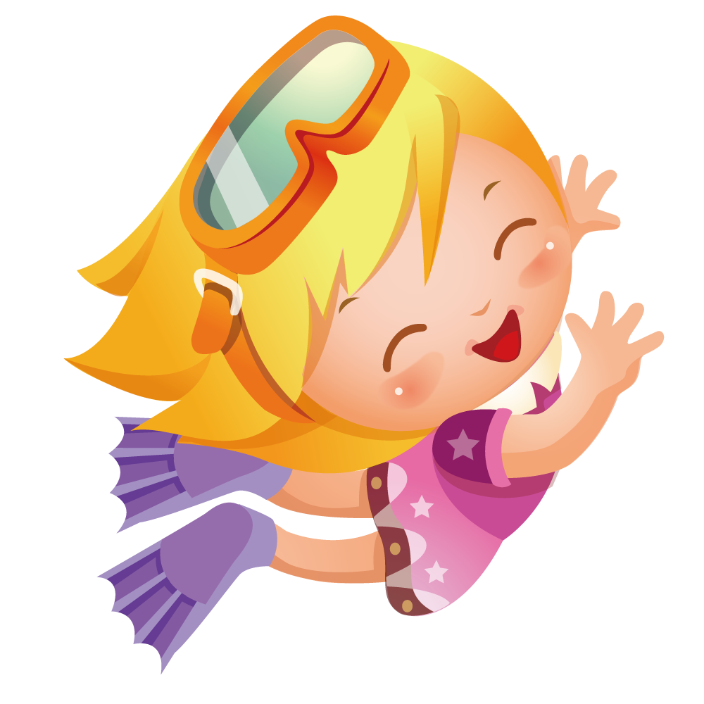 Clipart castle underwater. Diving illustration happy girl