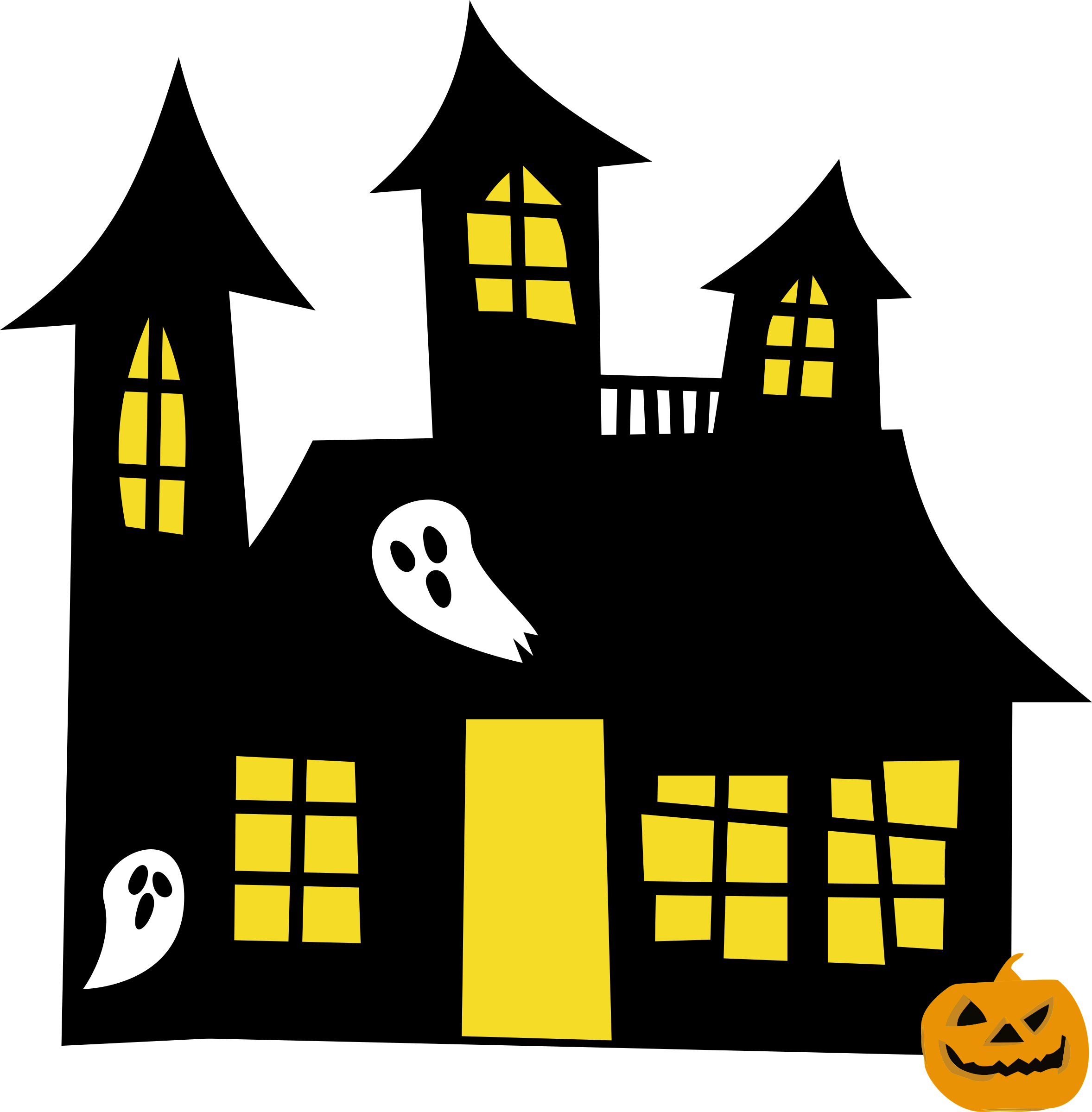 Haunted house remix big. Clipart castle windows