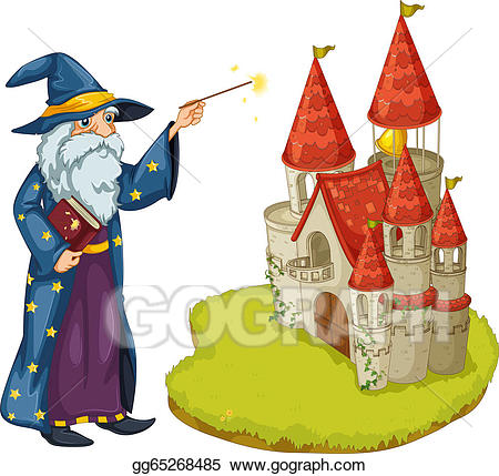 Clipart castle wizard. Vector stock a holding