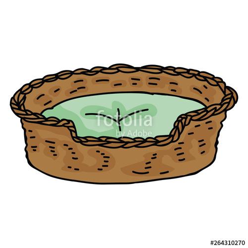 Clipart cat basket. Cute pet bed cartoon