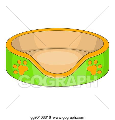 Stock illustration bed icon. Clipart cat basket