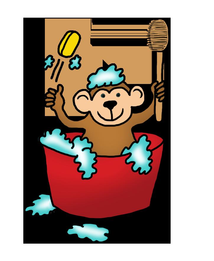Clipart cat bath. Funny monkey drawings clip