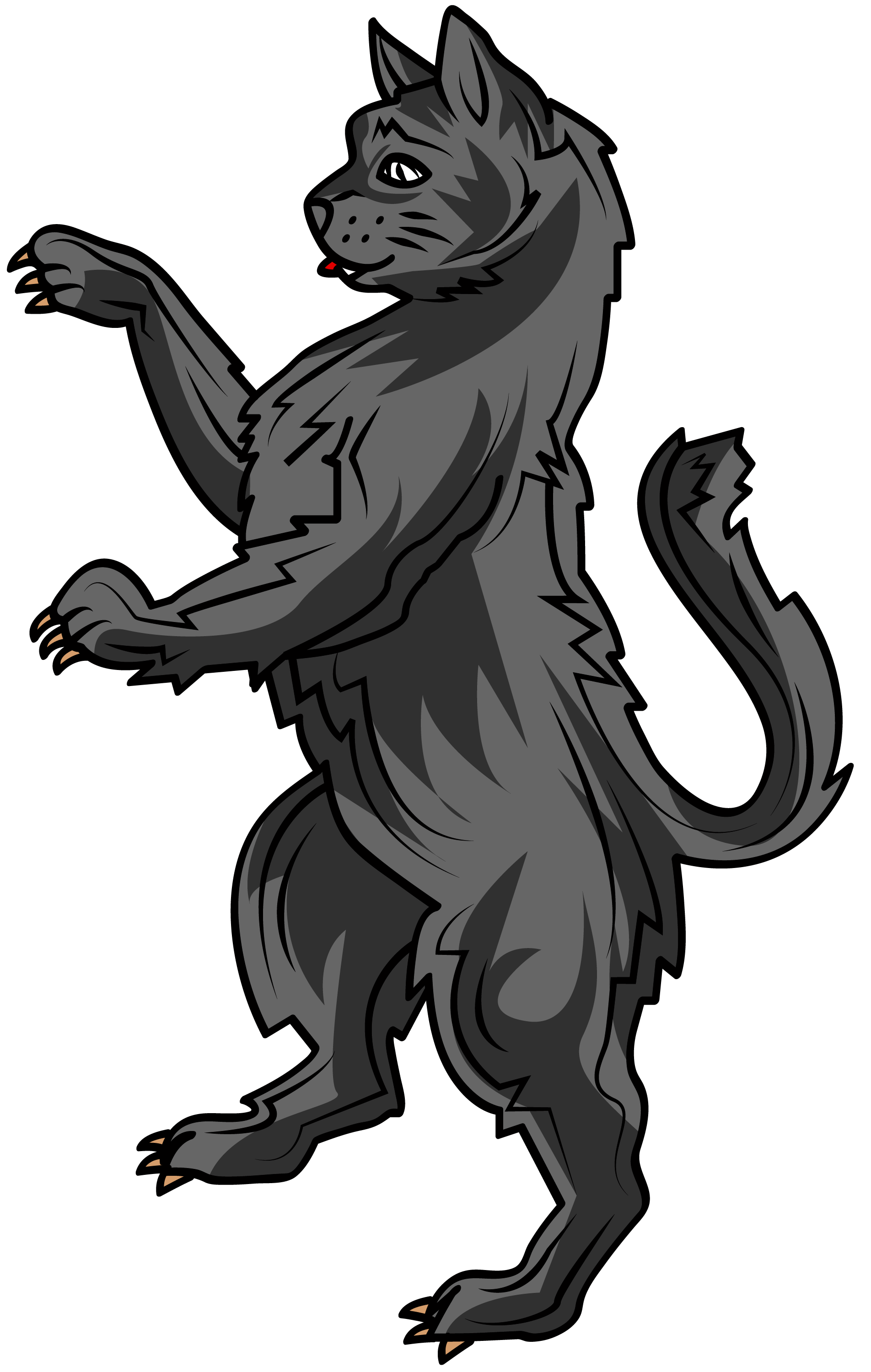 The cat in heraldry. Words clipart courage