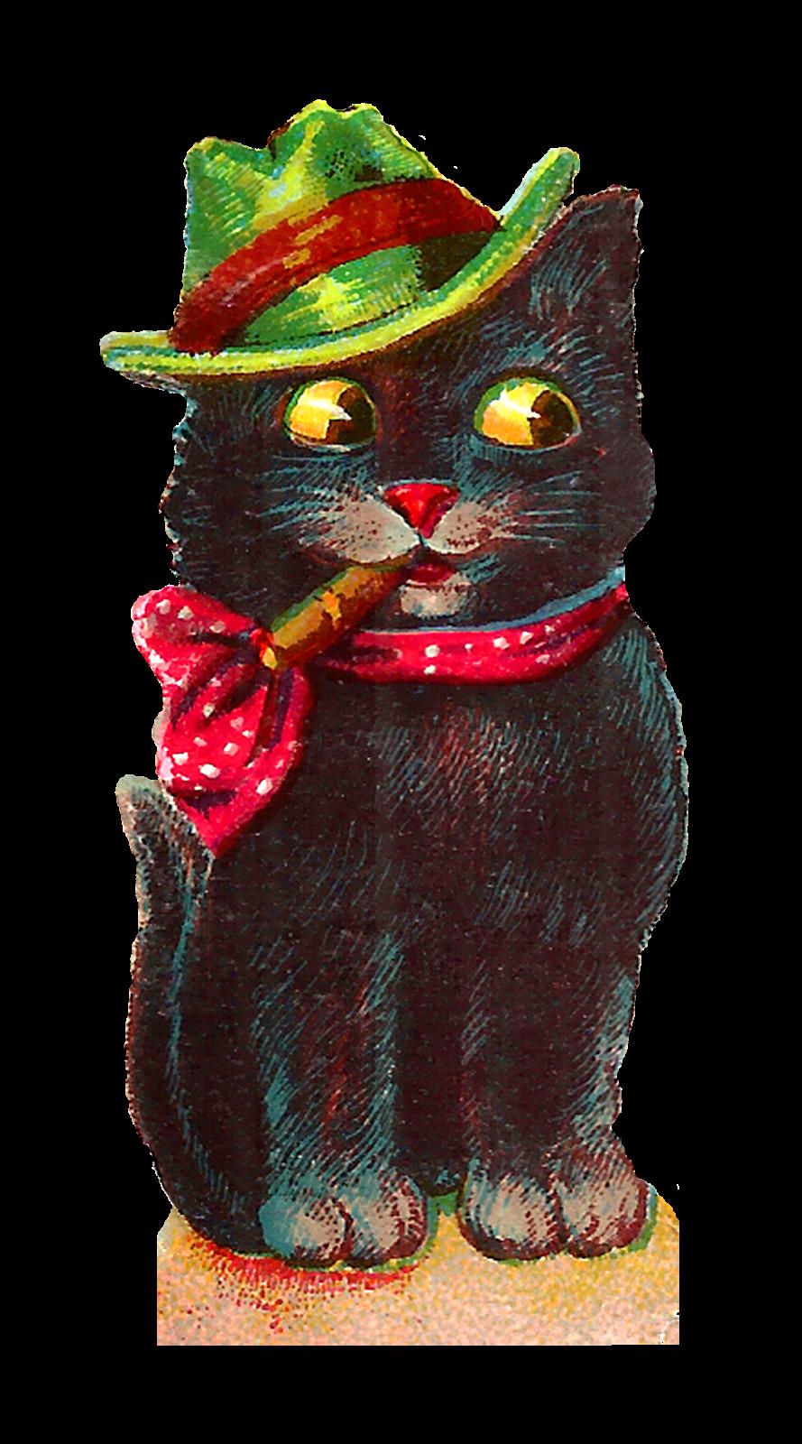 Clipart cat bow. Antique images vintage halloween