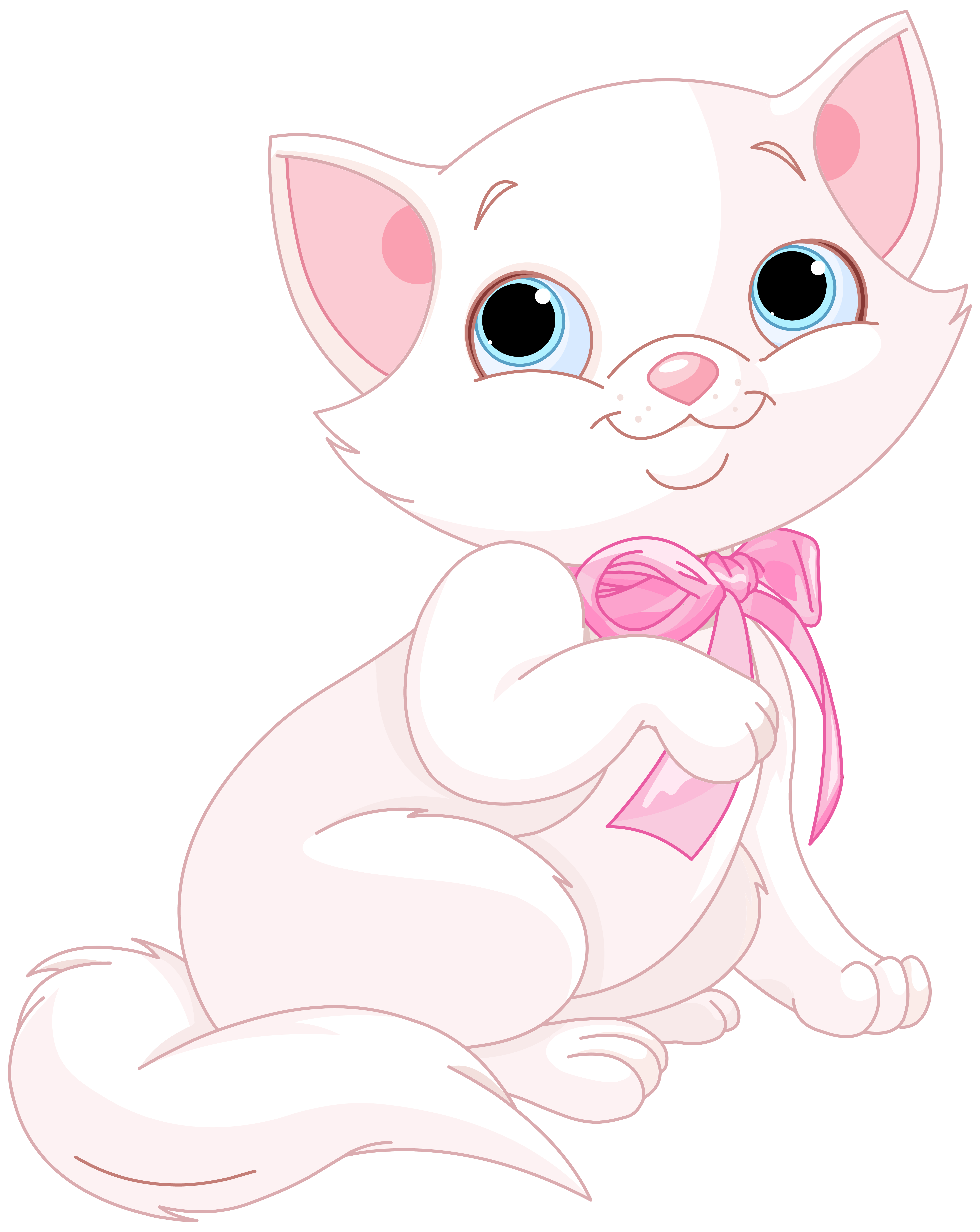 Cute pink and white. Clipart cat bow
