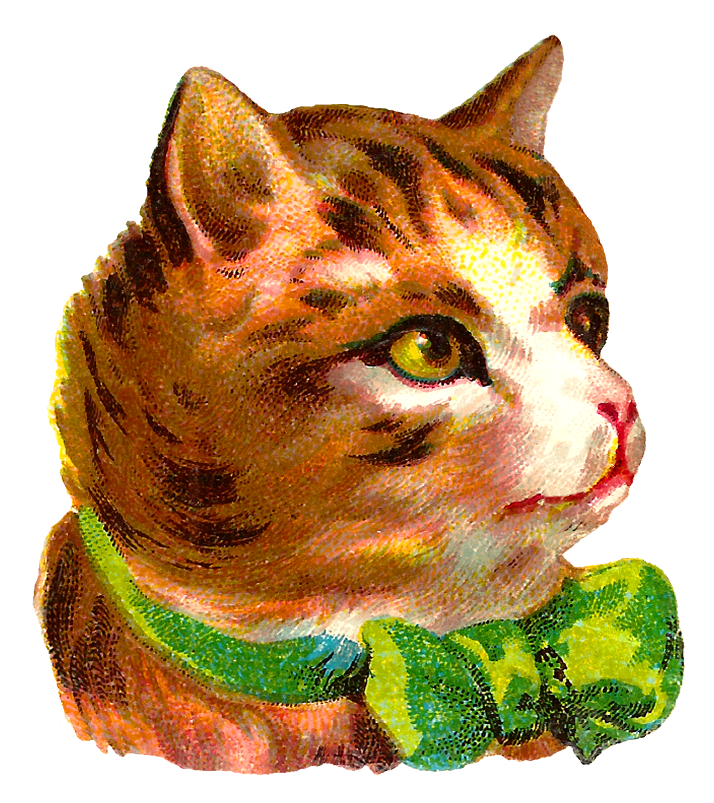 Clipart cat bow. Antique images victorian free