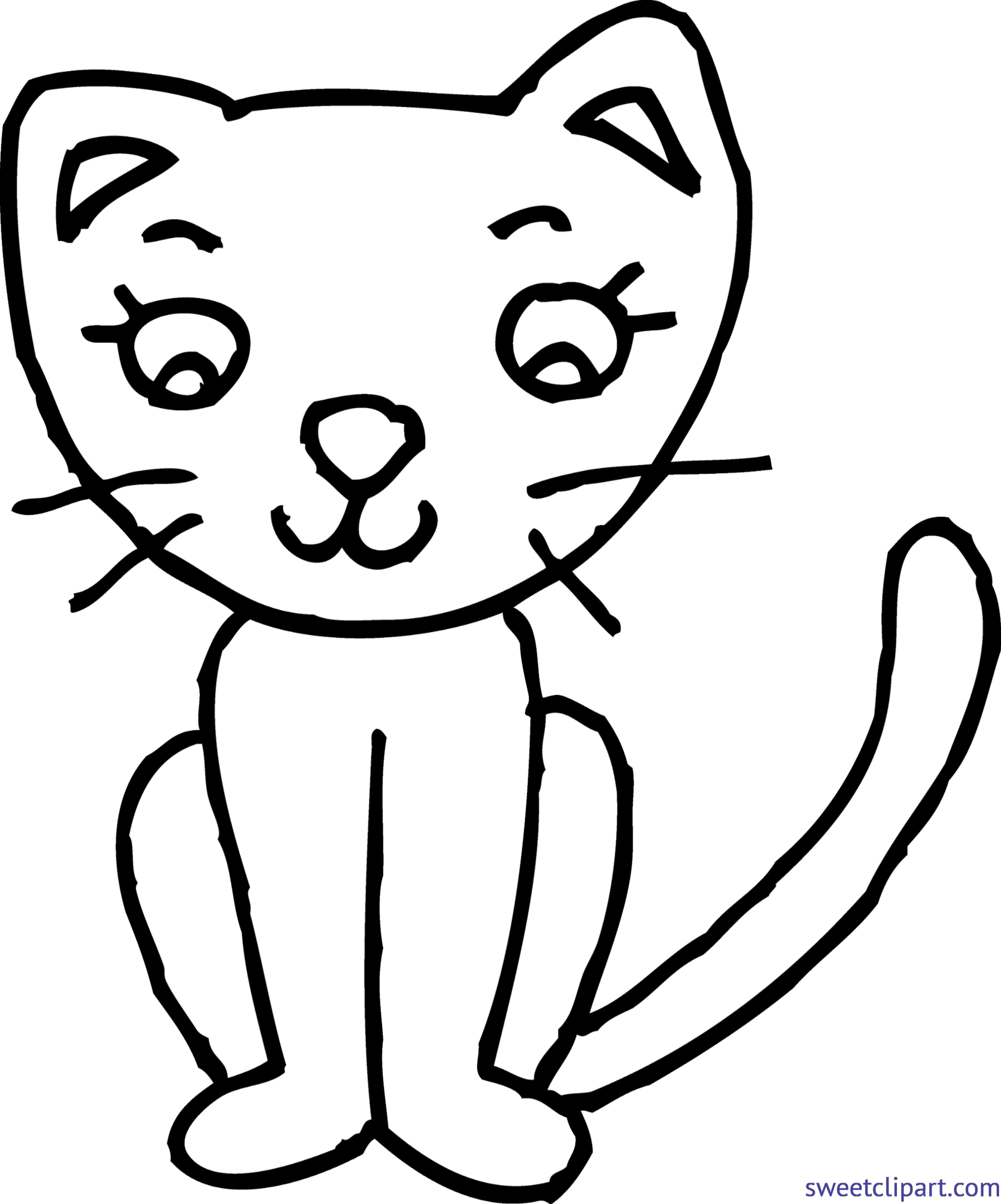 Coloring page clip art. Kitty clipart kitty cat