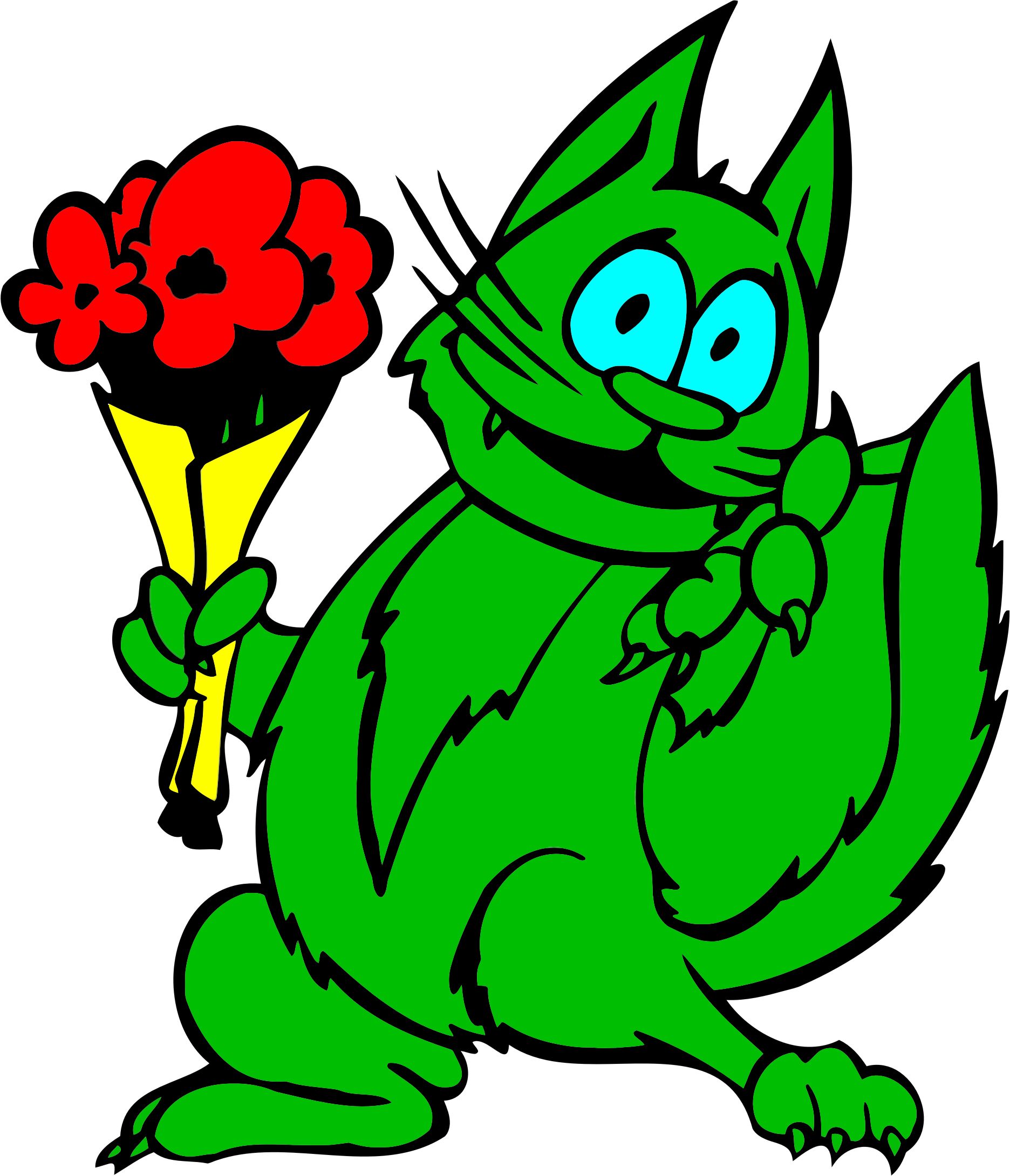 Green with big image. Clipart flowers cat