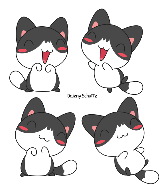 Kitty clipart anime cat. Black and white by