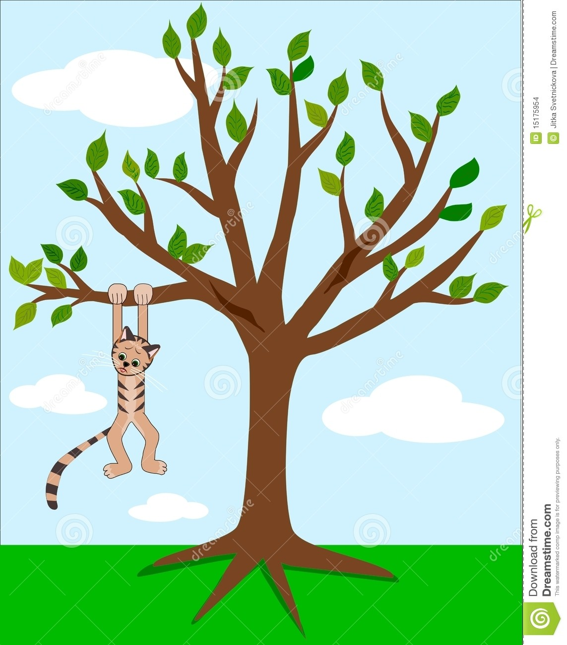 In a tree clip. Clipart cat climbing