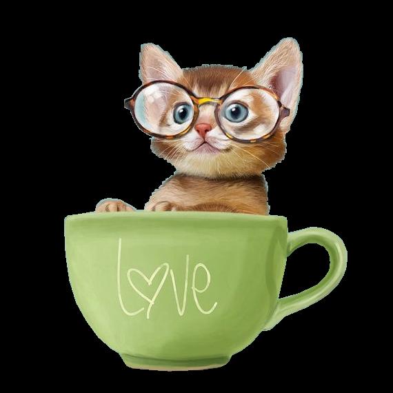 Clipart cat coffee. Chatons chats gato katze