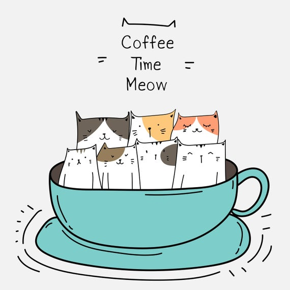 Cute cats in the. Clipart cat coffee