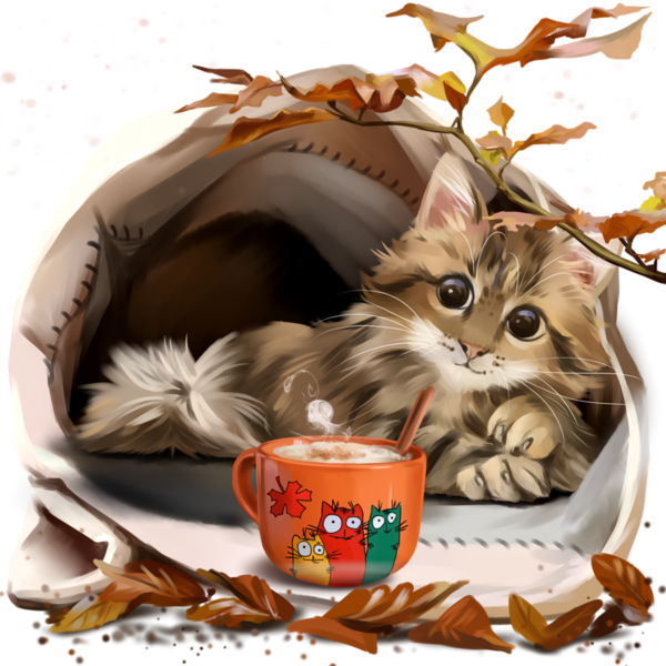 Chatons chats gato katze. Clipart cat coffee