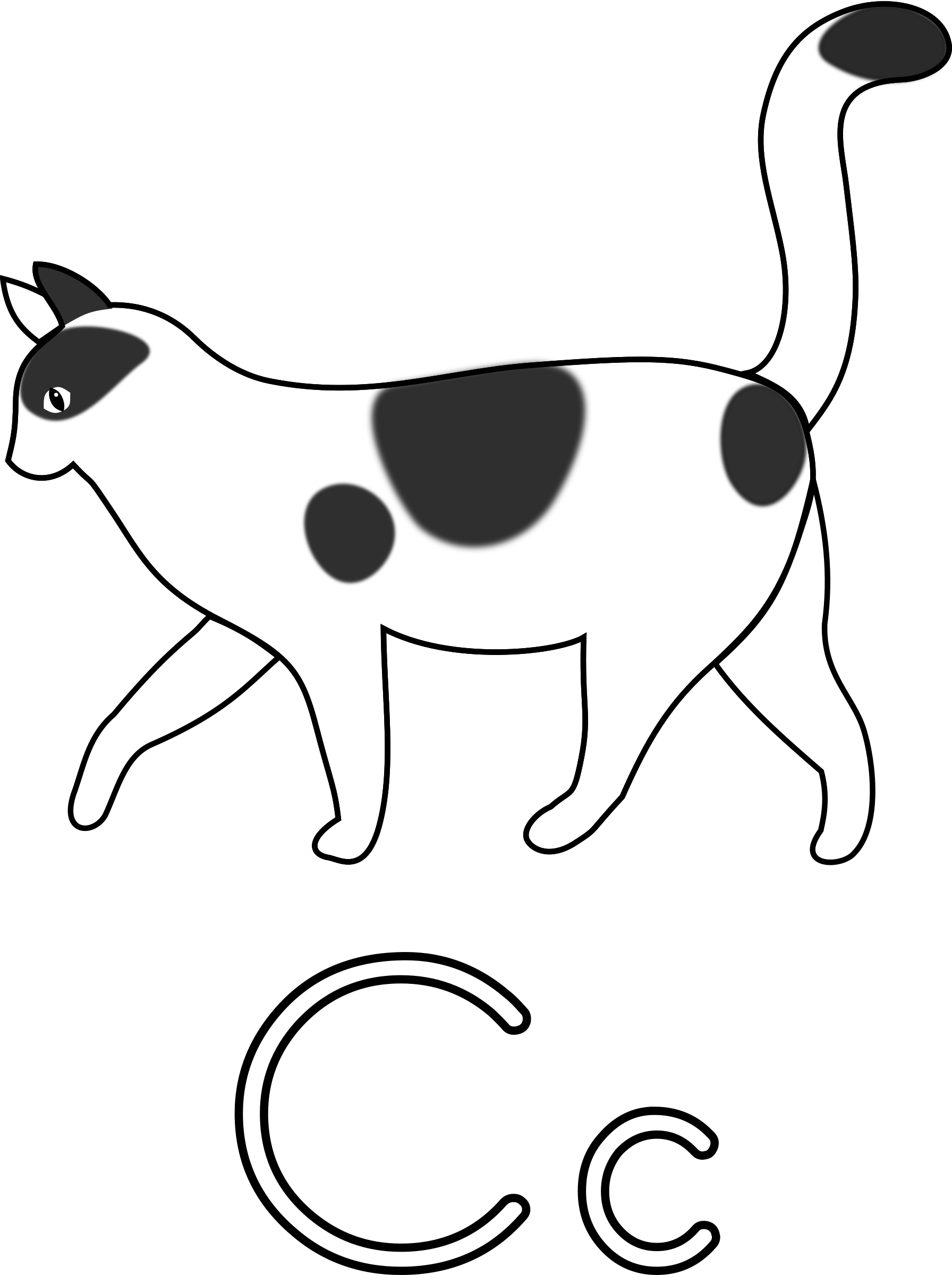 Letter c for big. Coloring clipart cat
