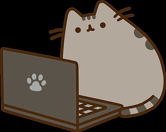 Pusheen laptop sticker by. Computer clipart cat