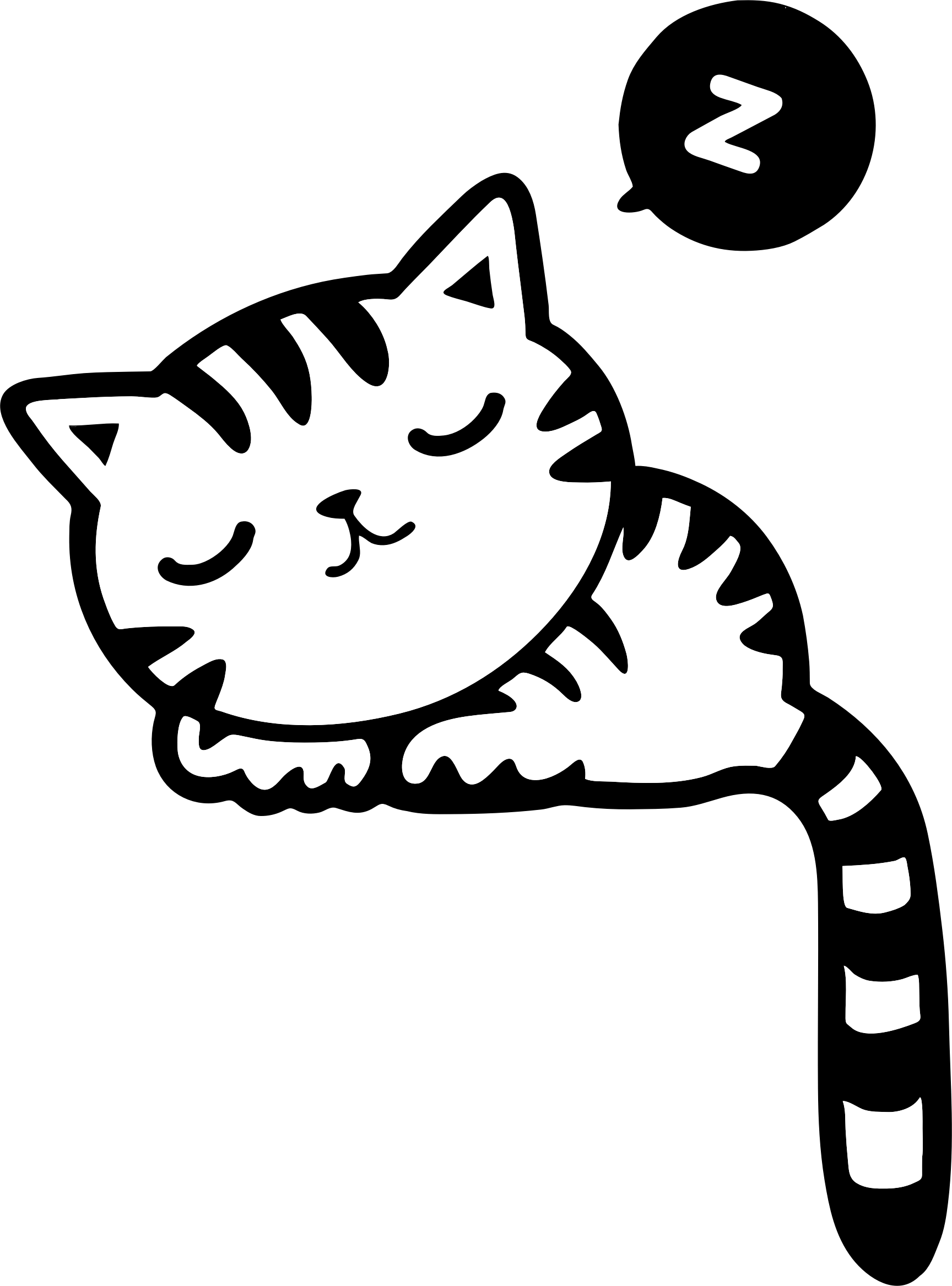 Clipart cat construction. Sleeping black and white