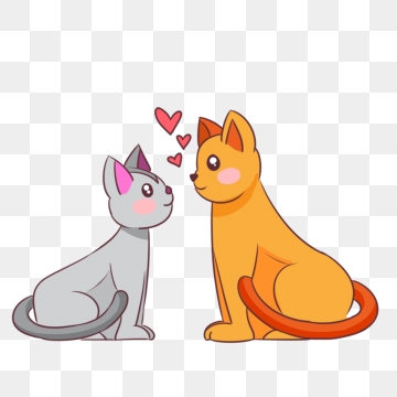 Clipart cat couple. Png vector psd and