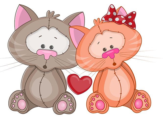 Tubes st valentin cute. Clipart cat couple