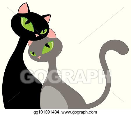 Clipart cat couple. Vector illustration elongated hug