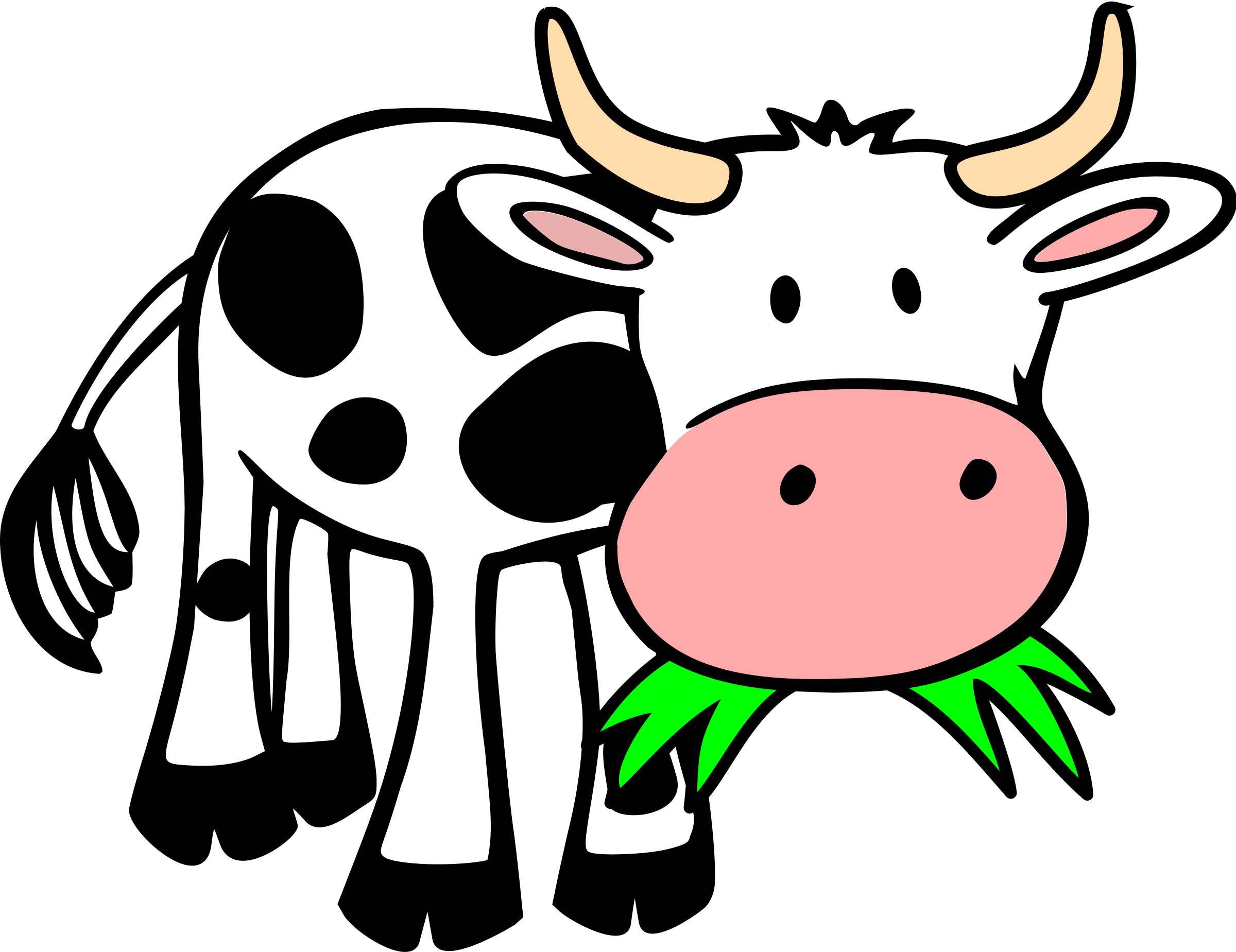 Cows clipart fence. Grass eating cow by
